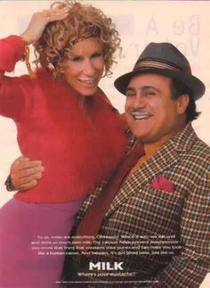 Hollywood power couple, actors Danny Devito and Rhea Perlman – Got Milk? Celebrity List, Celebrity Couples, Danny Devito Matilda, Got Milk Ads, Image Film, Famous Couples, The Little Prince, 90s Kids, Advertising Campaign
