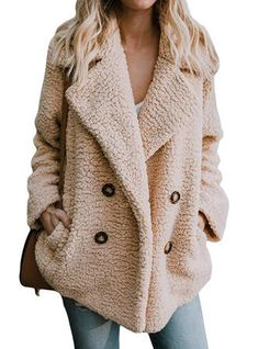 CHICSOSO Kakifarbig Woll Lange Ärmel Einfarbig Kunstpelzmantel Mäntel. #CHICSOSO #Woll #LangeÄrmel #Einfarbig #Kunstpelzmantel #Mäntel #Kakifarbig #Khaki Casual Coats For Women, Winter Coats Women, Jackets For Women, Coat Outfit, Long Faux Fur Coat, Plus Size Coats, Pulls, Types Of Sleeves, Ideias Fashion