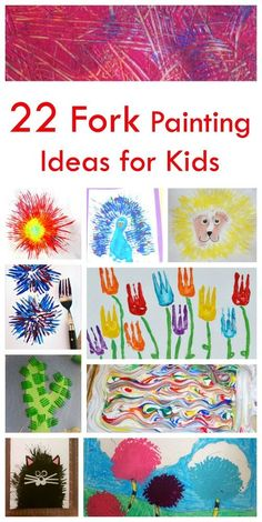 22 Fork Painting Ideas for Kids. Great technique for fun and art!