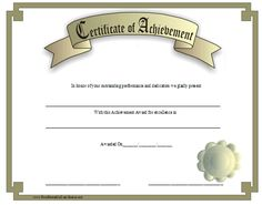 A classic-look certificate of achievement with a gold border and a 3D-look gold award ribbon. Free to download and print