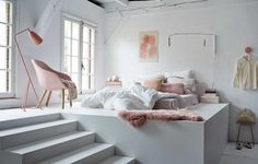 Fun white and blush pink loft bedroom