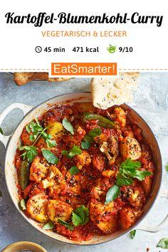 Seelenwärmer: Kartoffel-Blumenkohl-Curry - 471 kcal - einfaches Gericht - So gesund ist das Rezept: 9,1/10   Eine Rezeptidee von EAT SMARTER   Ernährung, Vegetarisch, Vegetarische Rezepte unter 500 kcal, Vegetarisches Mittagessen, Vegetarisches Abendessen, Vegetarische Hauptgerichte, Klassiker, Curry, Mahlzeit, Mittagessen, Abendessen #vegetarischescurry #gesunderezepte Vegan Vegetarian, Vegetarian Recipes, Snack Recipes, Healthy Recipes, Snacks, Spaghetti, Veggies, Food And Drink, Healthy Eating
