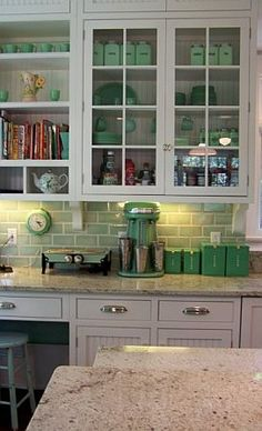 I have Revlon nailpolish in this pistachio shade and have started buying antique ceramic cream and sugar pots in the same color- even though it's totally outdated, I love how it can work here in a kitchen. It's like my love for this 'unusable' color has been justified!