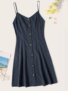 Button Front Cami Dress   SHEIN