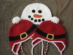 Snowman and a different variation of a Santa hat. There are also several very cute hat *Inspiration* ideas on this page.