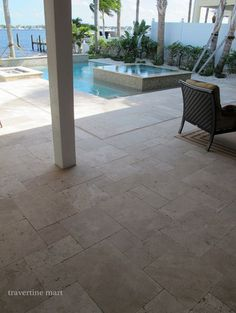 Ivory Tumbled Travertine Pavers - modern - pool - miami - Travertine Mart