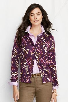 Women's Supima Fine Gauge Floral Print Cardigan from Lands' End