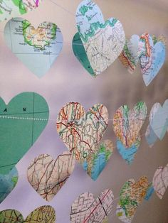 10ft Vintage Atlas Heart Garland - home decor, wedding, party decoration, travel garland, high tea