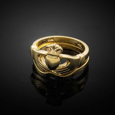 2pc Gold Classic Claddagh Engagement Ring Band Claddagh Engagement Ring, Gold Claddagh Ring, Diamond Engagement Rings, Yellow Gold Rings, Band Rings, Gold Jewelry, Rings For Men, Wedding Rings, Classic