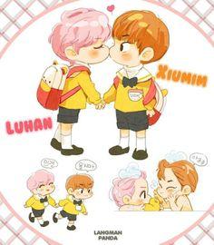 #XiuHan fanart ~ ♥º○•♡ luhanie and xiuminie cuties :3
