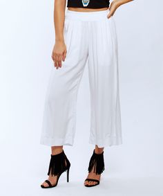 Look what I found on #zulily! Baik Baik White Wide-Leg Capri Pants by Baik Baik #zulilyfinds