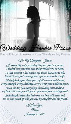 This gift for the bride from her mom is a lovely personalized wedding handkerchief. The touching poem to the bride tell's her how proud her mother is of the woman she has become. It is a sentimental and unique gift for the bride. Wedding Day Quotes, Wedding Poems, Wedding Gifts For Bride, Bride Gifts, Wedding Tips, Wedding Planning, Poem To My Daughter, Mother Daughter Wedding, Mother Daughter Quotes