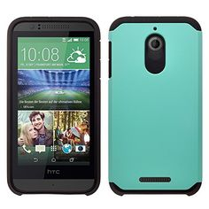 HTC 510 Desire Case, Slim Impact Resistant Hybrid Dual Layer Shield Armor Defender Protective Case Cover For HTC 510 Desire - [Drop Protection / Shock-Absorption] (Includes Screen Protector) - Teal / Black