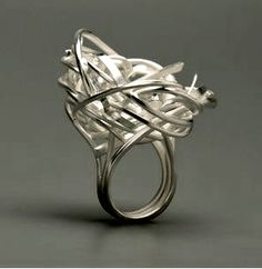 """by Heather Bayless. """"Cupping Nest"""". Sterling silver"""