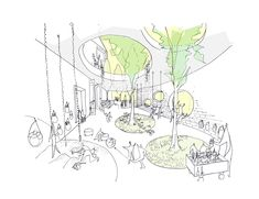 Image 4 of 16 from gallery of Daniel Valle Architects Unveils Winning Kindergarten Design for Seoul. Courtesy of Daniel Valle Architects Architecture Concept Drawings, School Architecture, Sustainable Architecture, Ancient Architecture, Landscape Architecture, Architecture Design, Planer Layout, Kindergarten Design, Architecture Presentation Board