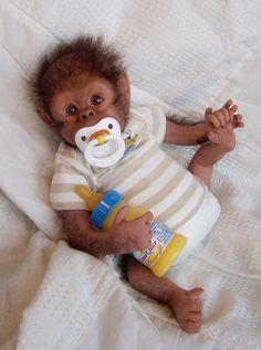 OLIVER ooak chimpanzee monkey baby REBORN by Soraya Merino. $382.00, via Etsy.