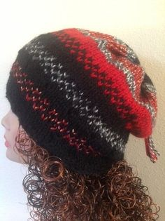 Hand Knit Hat Beanie Cap Beret Slouch Multicolor by HANDKNITS2LOVE, $40.00