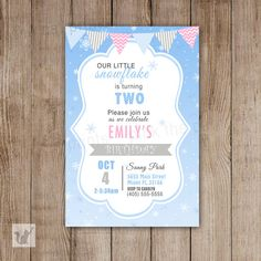 Snowflake Birthday Invitation - Printable Personalized Girl Winter Party Invite Blue Silver And Pink