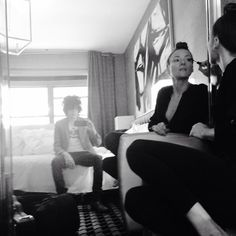 LP and Tamzin Brown in their hotel room, 2014