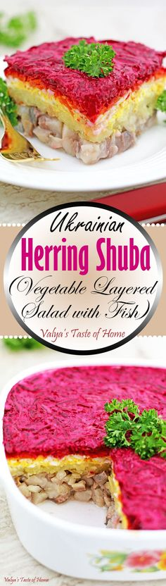 Herring Shuba is a salad consists of layered herring grated potatoes eggs carrots red beets and seasoned with salt and pepper to taste and coated with mayonnaise. It is mainly made for major holidays and very popular in Slavic community. Mayonnaise, Yummy Eats, Yummy Food, Delicious Recipes, Ukrainian Recipes, Ukrainian Food, Russian Recipes, Red Beets, Fish Salad