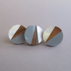 Geo Knob in Grey - Round Geometric Fusion - Wooden Unique Drawer Pulls, Cabinet Knobs and Pulls, Unique, Decorative, Mother of Pearl Dresser Handles, Cabinet Handles, Dresser Knobs And Pulls, Cabinet Hardware, Door Knobs, Door Handles, Wood Drawers, Dresser Drawers, Leather Drawer Pulls