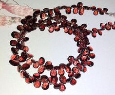 Mozambique Garnet Faceted Pears Briolette Gemstone Beads 3X5-6X9MM AAA 9 Inch #Unbranded #Faceted