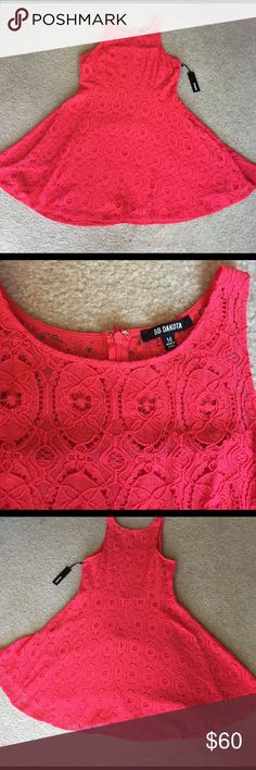 NWT BB Dakota coral mini dress sz-14 Nordstrom NWT BB Dakota coral dress is perfect for spring and summer! It fits tighter at the bust and flows out at the waist. It's very comfortable! Laying flat, the measurements are as follows: bust-20.5 in, shoulder to bottom of dress 38 inches, waist 17 inches. Zipper in the back goes about 3/4 of the way down the dress. I have one in green envy in a size 12 in a separate listing. BB Dakota Dresses Mini