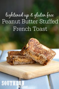 Looking for a healthy yet indulgent feeling breakfast recipe? This skinny Peanut Butter Stuffed French Toast Recipe is made using cinnamon raisin bread for extra flavour and is low fat, gluten free, sugar free, clean eating friendly and SO easy to make!