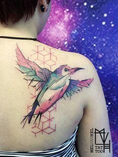 Abstract geometric bird tattoo. Done by Mel van Hel, Lingen (Germany)