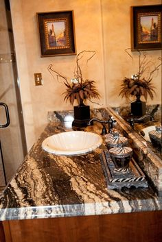 Beautiful!! Who wouldn't want this exotic Granite with an Ogee edge in their bathroom!!