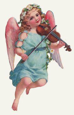 victorian die-cut scrap - blue angel violin blonde curls flowers