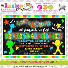 646: DIY Glow In The Dark 2 Party Invitation by LilRbwKreations