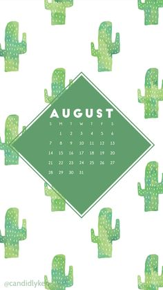 Cactus fun cacti green watercolor background August calendar 2016 wallpaper you can download for free on the blog! For any device; mobile, desktop, iphone, android!