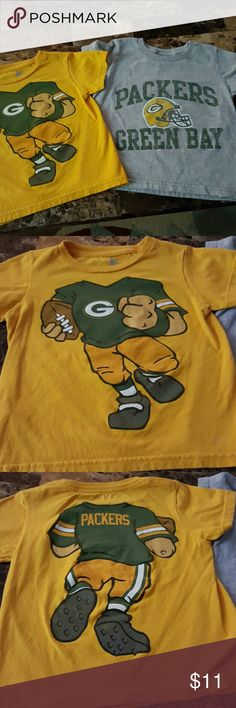 Lot of 2 Toddler Green Bay Packers Tees 3T Packers tshirts, NFL brand gold tee with figures on front and back, and distressed gray tee Shirts & Tops Tees - Short Sleeve