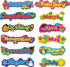 Creative Teaching Press Popping Patterns, Seasonal Months of the Year Add seasonal flair to any calendar display! Classroom Calendar, Kids Calendar, Classroom Rules, Classroom Displays, Space Classroom, Monster Classroom, Classroom Charts, Classroom Clipart, Calendar Numbers