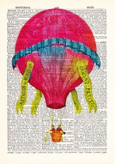 For the dreamers among you, perhaps you'd rather travel by hot air balloon? These illustrations on vintage dictionary paper by Rabbit Dog Prints are pretty fantastic. Neighborhood Transit Paper Love