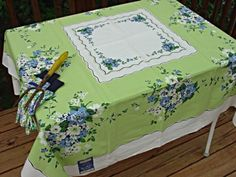 Vintage Tablecloths 1940 50 | TWO-TONE GREEN MEXICAN THEMED TABLECLOTH -by Broderie Creations