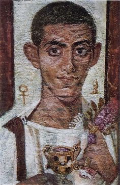 Fayum mummy portrait of Ammonius. The chalice and ankh-like object of this c. portrait likely had religious significance for the subject. The Ancient One, Beautiful Drawings, Funerary Art, Painting, Egyptian Art, Louvre Museum, Art, Ancient Art, Portrait