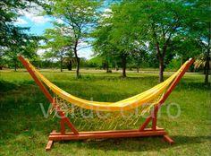 hamaca paraguaya con estructura de madera