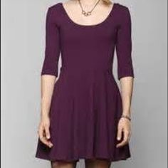 Skater Dress Purple Quarter sleeve skater dress Size S. Worn once. Very comfortable & stretchy material. Dress up or Dress down.. 96% Rayon 4% spandex. Smoke & Pet free home. Forever 21 Dresses Mini