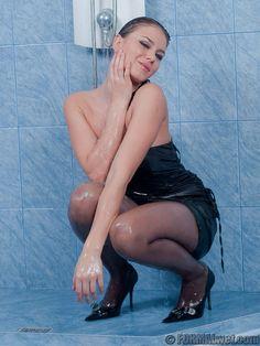 Wet black pantyhose