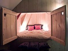bedroom tucked away in a barn...so beautiful