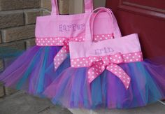 Twin Tote Bags Embroidered dance bag Ballet bag Pink by naptime21