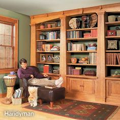 <p>This built-in Mission Oak bookcase features loads of shelf space, vertical grain wood, solid oak construction and a design that can be easily altered to fit your room.</p>