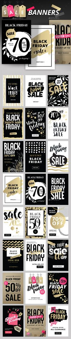 Black Friday Social Media Banners Template PSD, Transparent PNG, Vector EPS, AI Illustrator
