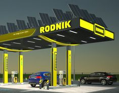 """Creation of petrol station """"Victoria"""" visual design. on Behance Canopy Architecture, Architecture Design, Solar Tracker, Harley Davidson, Filling Station, Futuristic City, Canopy Design, Bus Station, Model Trains"""