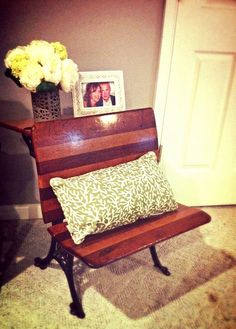 old school desk repurpose this is cute with a gold accent pillow