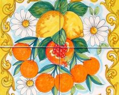 Hand Painted Italian Ceramic Tiles - Baroque Fruit - Oranges and Lemons - Kitchen Art Painting - Ceramic Wall Tile - Backplash Tiles