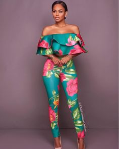 Cabie Green Pink Floral Print Two Piece Set African Print Dresses, African Print Fashion, African Fashion Dresses, African Dress, Fashion Prints, Classy Outfits, Chic Outfits, Fashion Outfits, Womens Fashion
