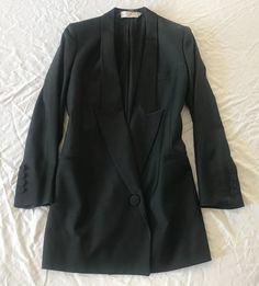 ~ STELLA MCCARTNEY BLACK LONG TUXEDO STYLE DRESS (CLASSIC W/ A TWIST!)  36 #StellaMcCartney #TuxedoJacket
